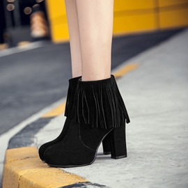 Ericdress Suede Fringe Platform Chunky Heel Ankle Boots