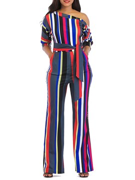 Ericdress Color Block Oblique Shoulder Stripe Women's Jumpsuits