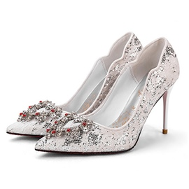 Ericdress Lace Rhinestone Stiletto Heel Wedding Shoes