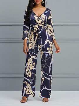 Ericdress V-Neck Print Wide Legs Women's Jumpsuits