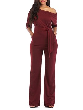 Ericdress Oblique Shoulder Slim Plain Women's Jumpsuits