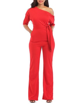 Ericdress Lace-Up Oblique Shoulder Plain Women's Jumpsuits