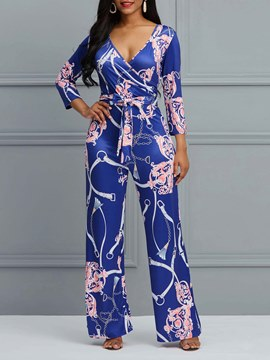 Ericdress Floral Print Nine Points Sleeves Women's Jumpsuit