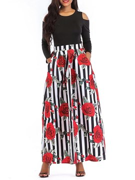 Ericdress Floral Stripe T-Shirt and Skirt Women's Two Piece Set