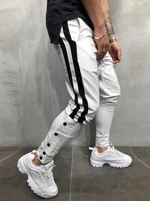 Ericdress Side Striped Button Lace Up Patchwork Mens Casual Sports Pants