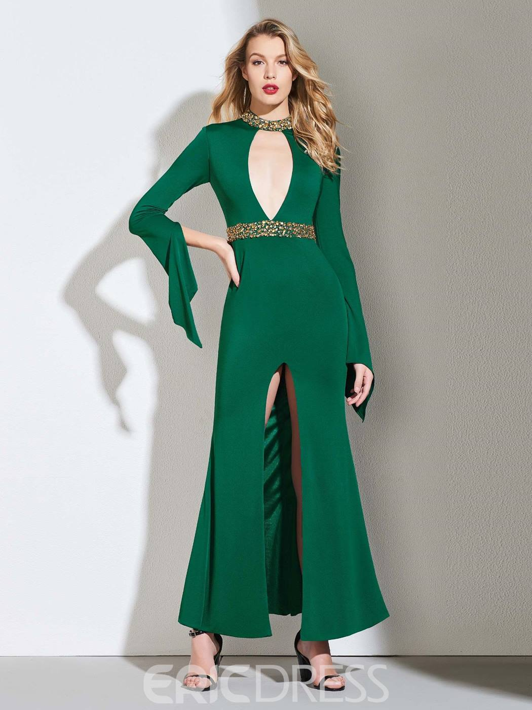 Ericdress Sheath Open Neck Long Sleeve Evening Dress With Beadings