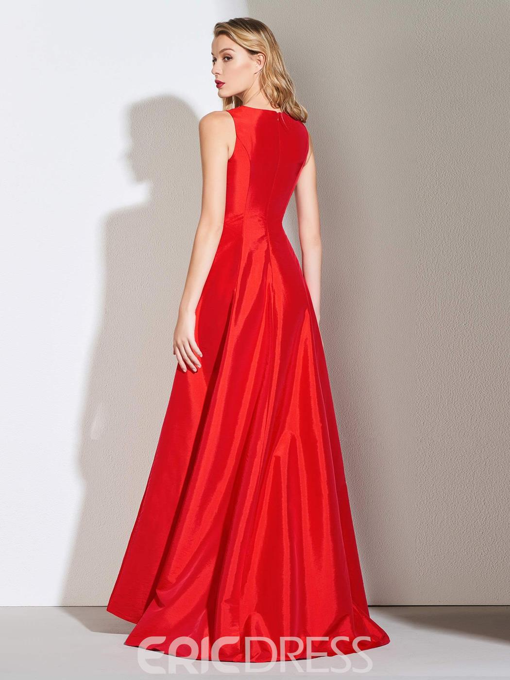 Ericdress A Line V Neck Split-Front Red Prom Dress