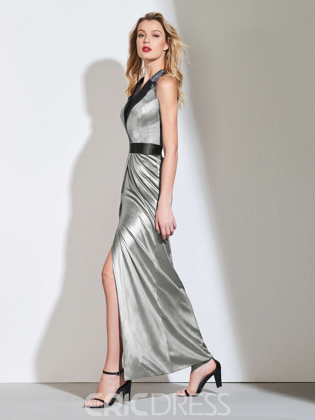Ericdress A Line V Neck Split-Front Long Evening Dress