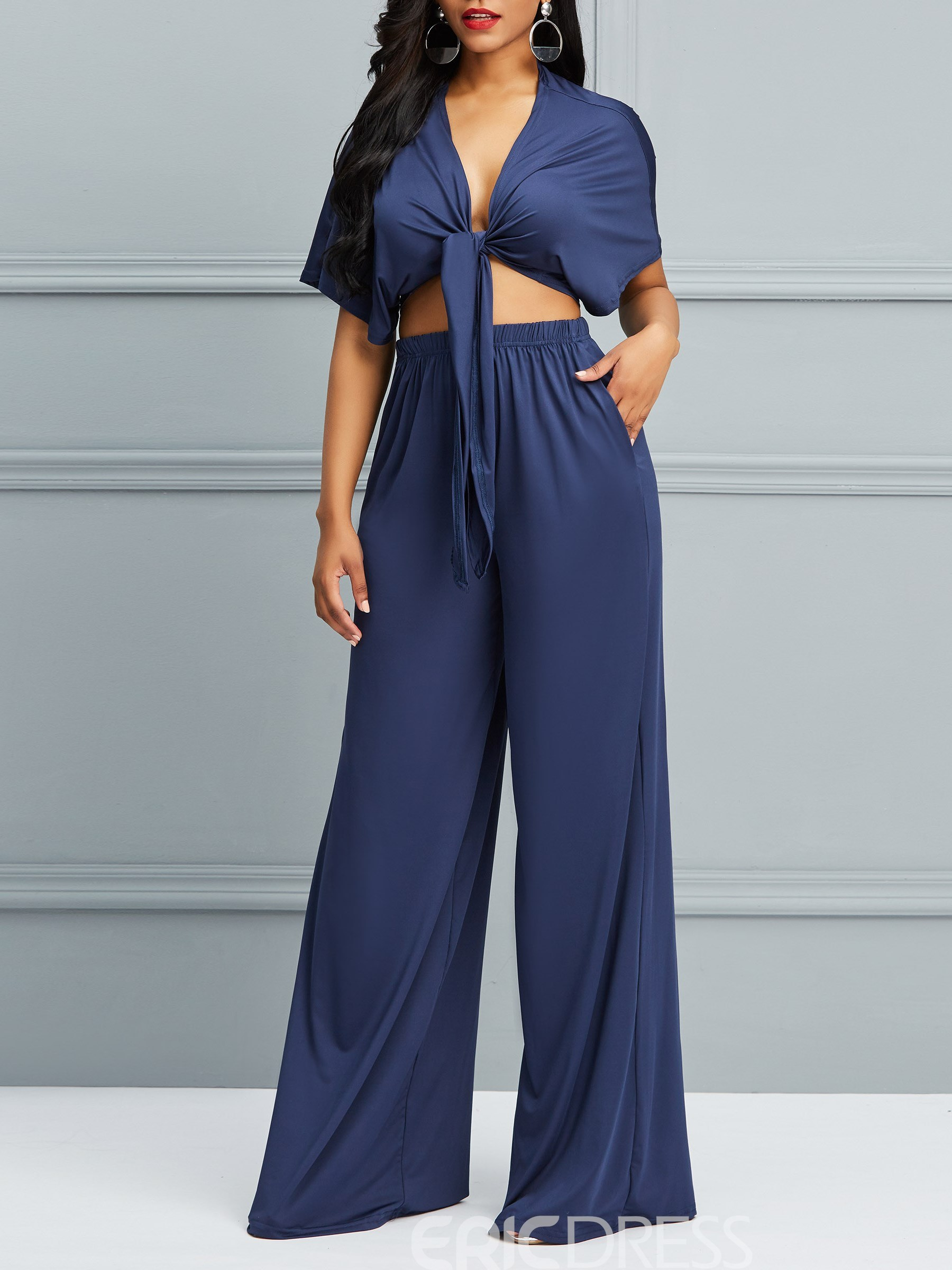 Ericdress V-Neck T-Shirt and Pants Lace-Up Women's Two Piece Set