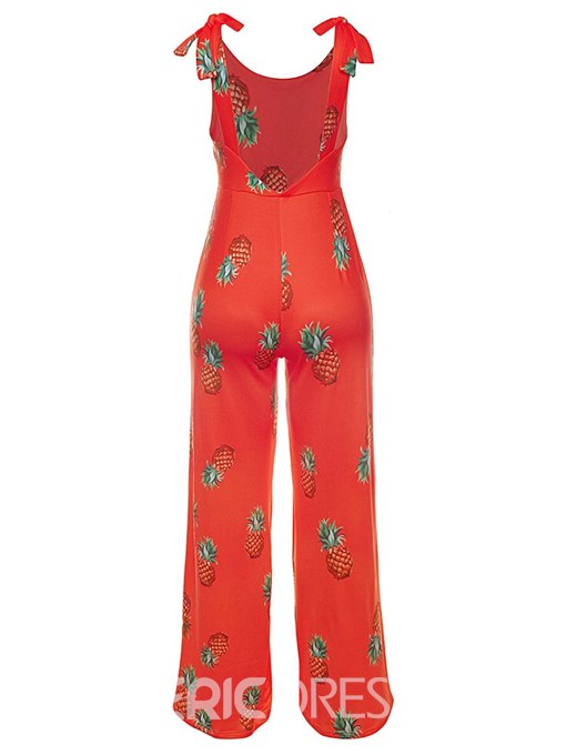 Ericdress Floral Print Lace-up Women's Jumpsuits