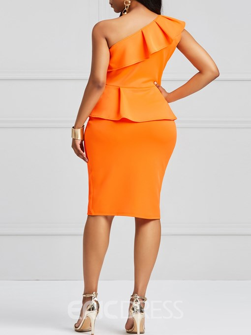 Ericdress Bodycon Ruffles One-Shoulder Women's Dress