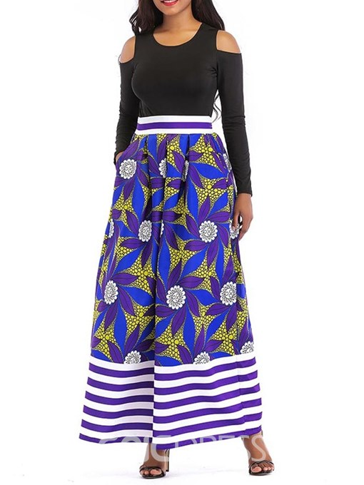 Ericdress Color Block Floral Pockets T-Shirt and Skirt Women's Two Piece Set