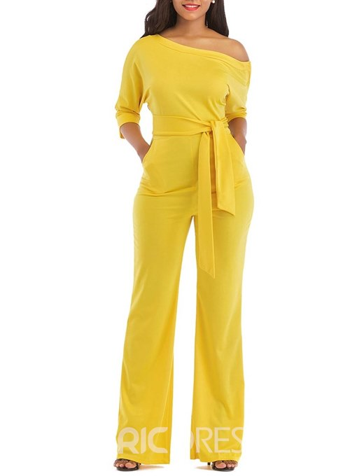 Ericdress Oblique Shoulder Lace-Up Plain Women's Jumpsuits