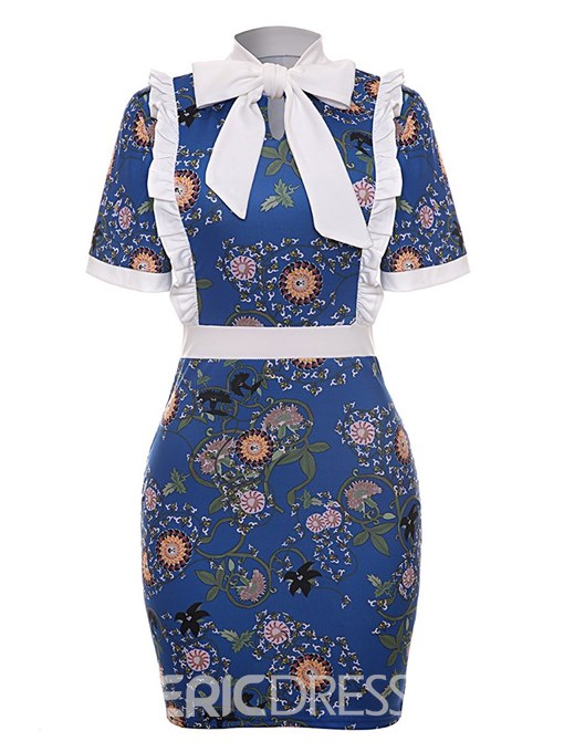 Ericdress Bodycon Bowknot Print Women's Dress