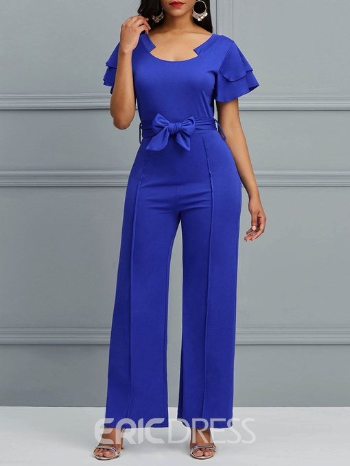 Ericdress Ruffles Plain Lace-Up Women's Jumpsuits