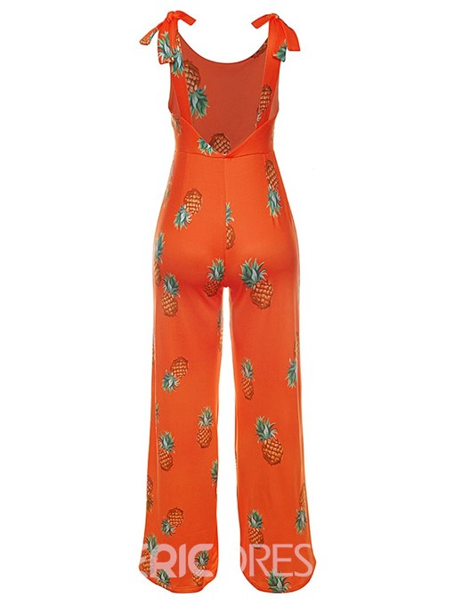 Ericdress Floral Backless Wide Legs Women's Jumpsuits