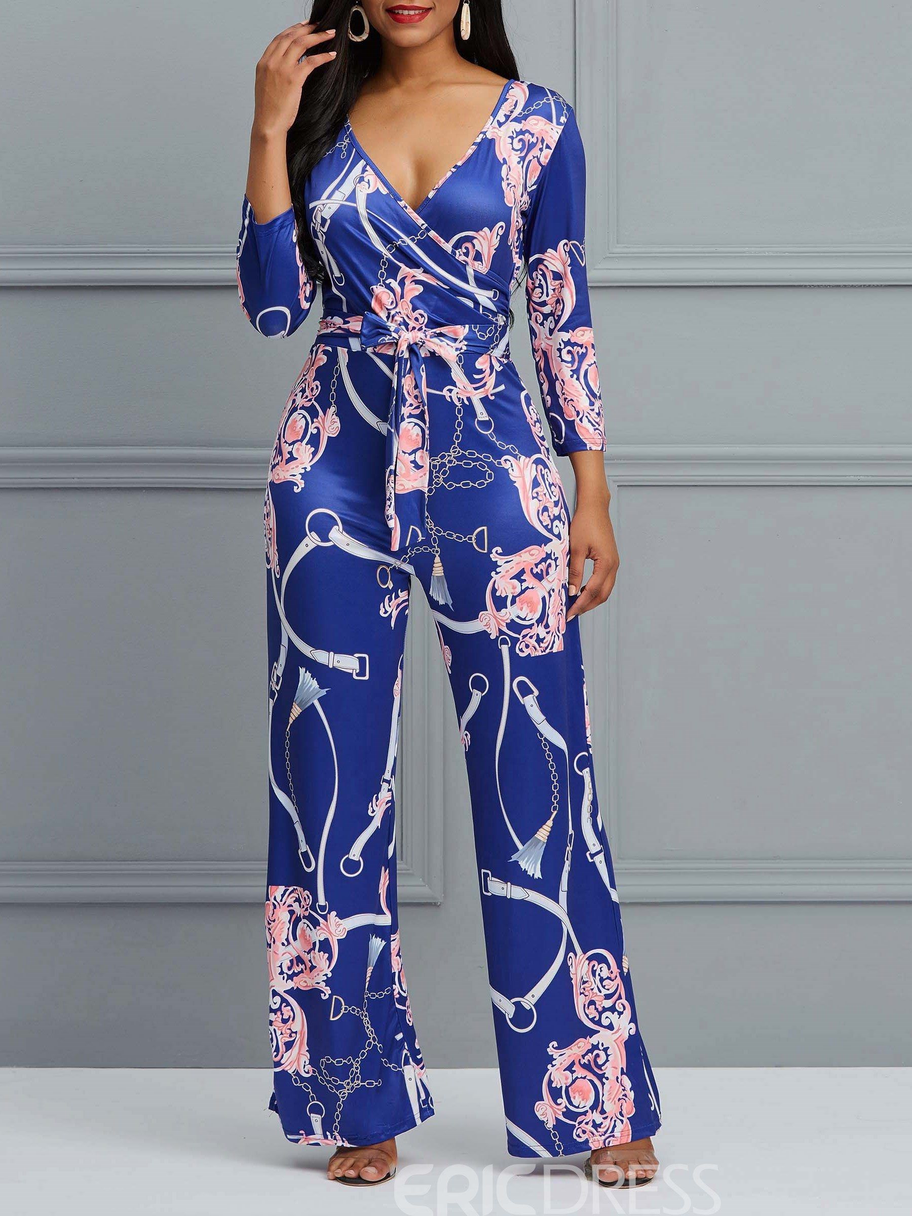 Ericdress Floral Print Nine Points Sleeves Women's Jumpsuits