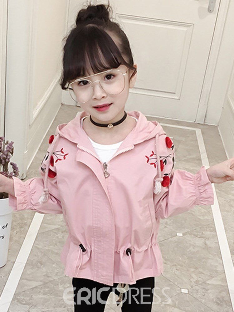 Ericdress Floral Embroidery Hooded Plain Zipper Girl's Casual Trench Coat