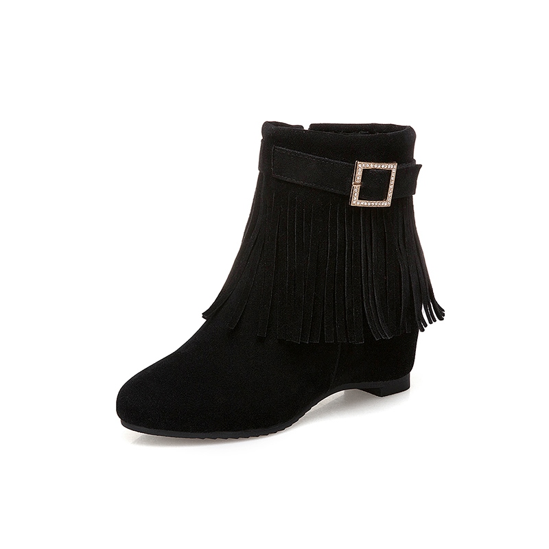 Ericdress Rhinestone Fringe Buckle Side Zipper Ankle Boots