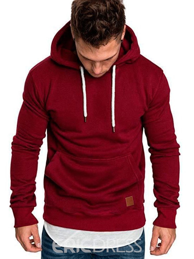 Ericdress Plain Hooded Pullover Lace Up Mens Casual Hoodies