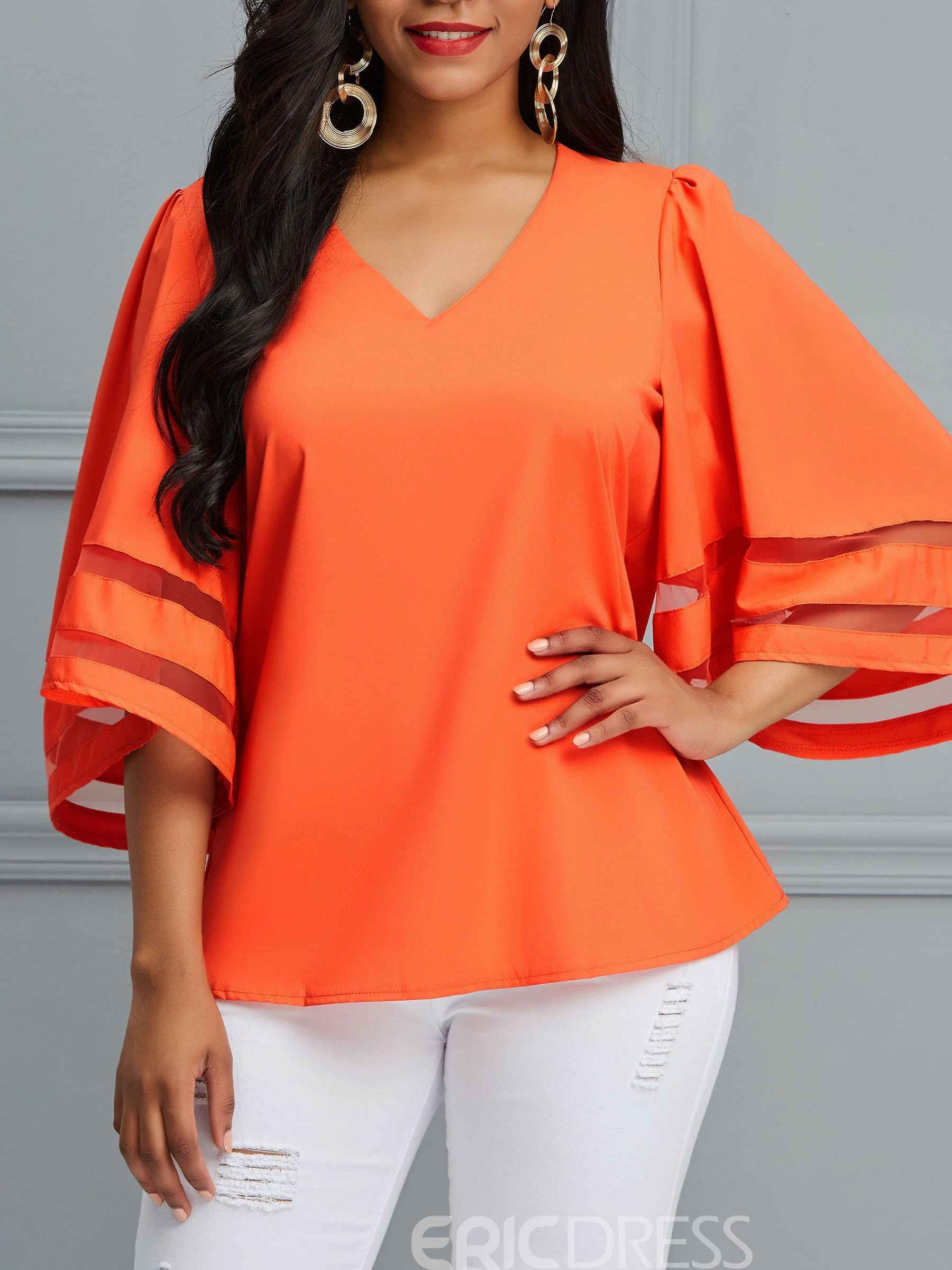 Ericdress Notch-V Patchwork 3/4 Length Sleeves Blouse
