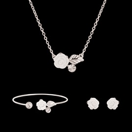 Ericdress White Rose Women Exquisite Diamante Jewelry Set