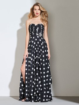 Ericdress A Line Sweetheart Plests Black And White Print Prom Dress