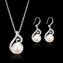 Ericdress Pearl Silver Diamante Charm Necklace For Women