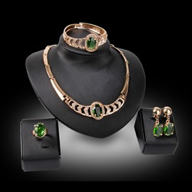 Ericdress Emerald Oval Diamante Jewelry Set