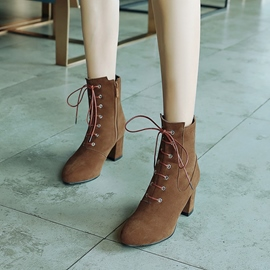 Ericdres Cross Strap Suede Chunky Heel Ankle Boots