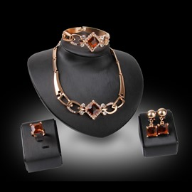 Ericdress Ruby Square Alloy Diamante Jewelry Set