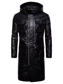 Ericdress Black Plain Mid-Length PU Zipper Mens Hooded Leather Jacket