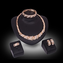 ericdress twist diamante golden alloy jewelry conjunto