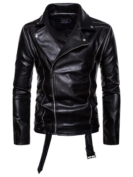 Ericdress Black Lapel Slim Cool PU Zipper Mens Leather Jacket