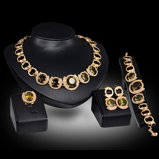 Ericdress Luxury Square Olivine Gems Jewelry Set