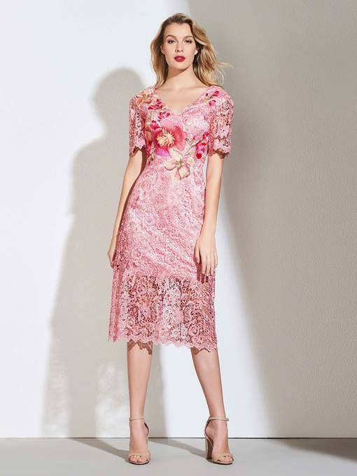 Ericdress Sheath Short Sleeve Lace Cocktail Dress In Tea Length
