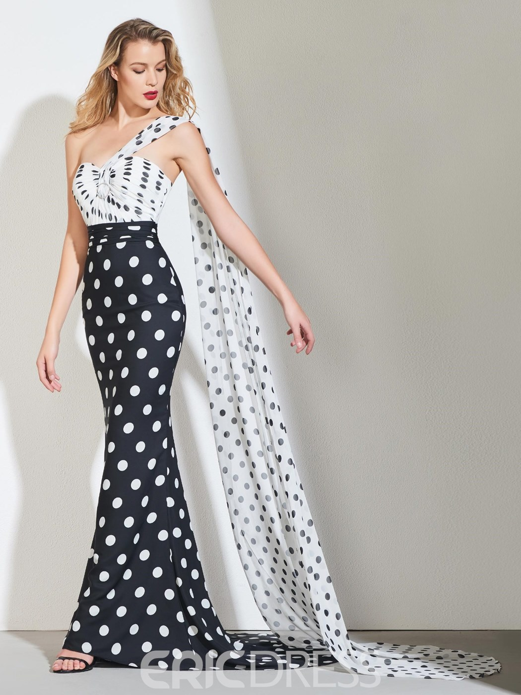 Ericdress Sweetheart Black And White Printed Mermaid Evening Dress