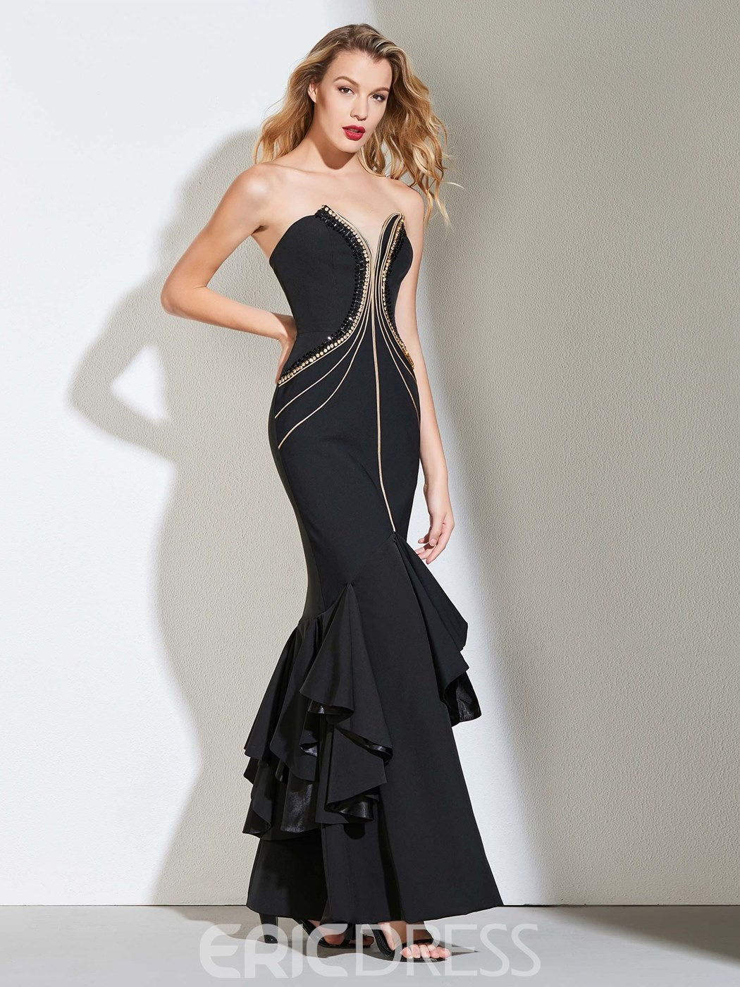 Ericdress Sweetheart Black Mermaid Evening Dress With Beadings