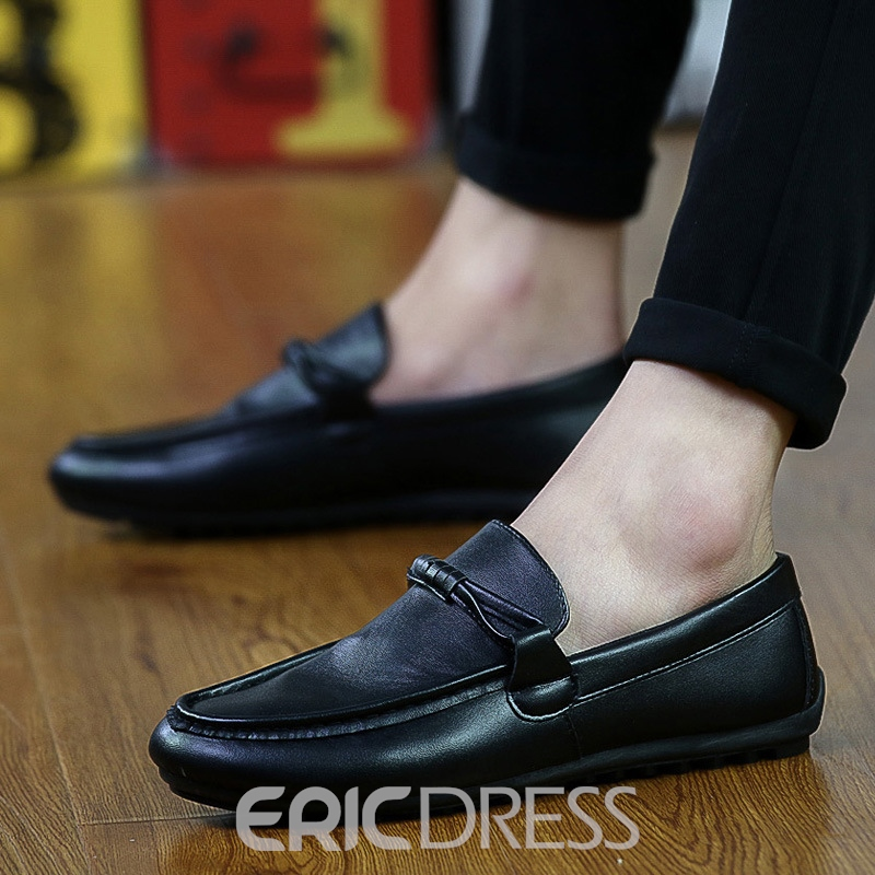 Ericdress Plain PU Slip-On Low-Cut Casual Men's Loafers