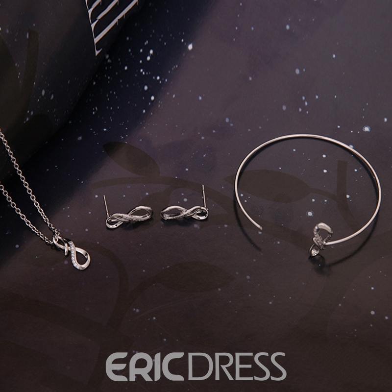 Ericdress Classics Eight Diamante Silver Necklace