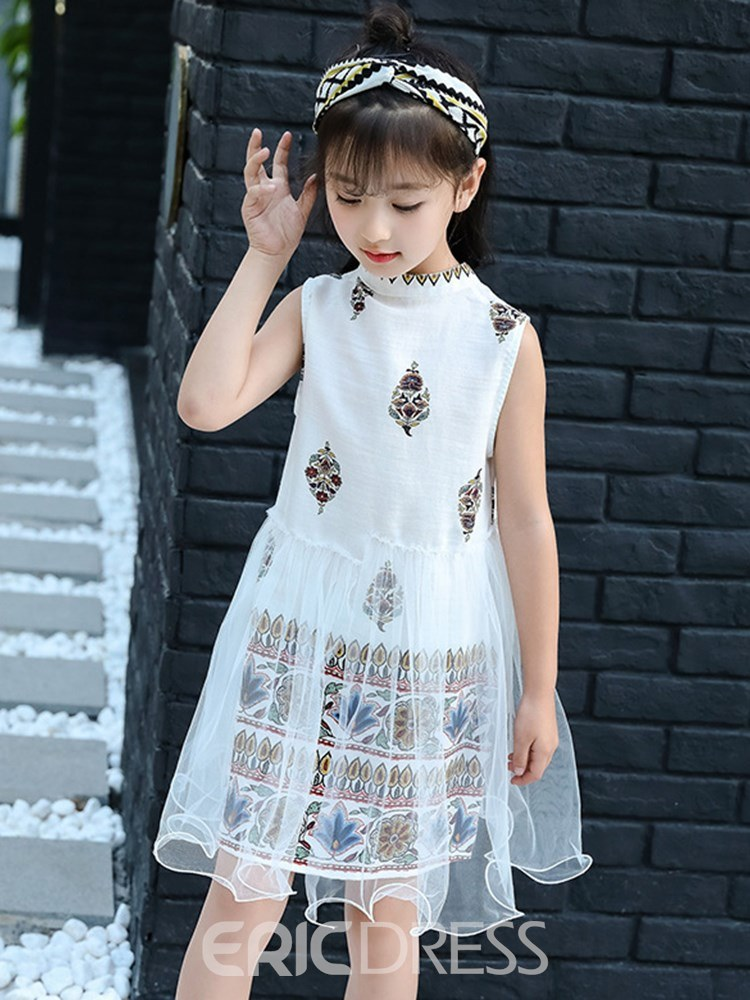Ericdress Mesh Printed Stringy Selvedge Girl's Sleeveless Ball Gown Dress