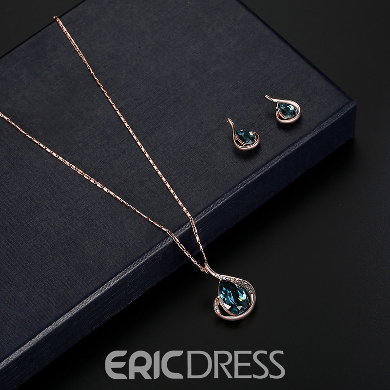 Ericdress Gems Waterdrop Diamante Jewelry Set