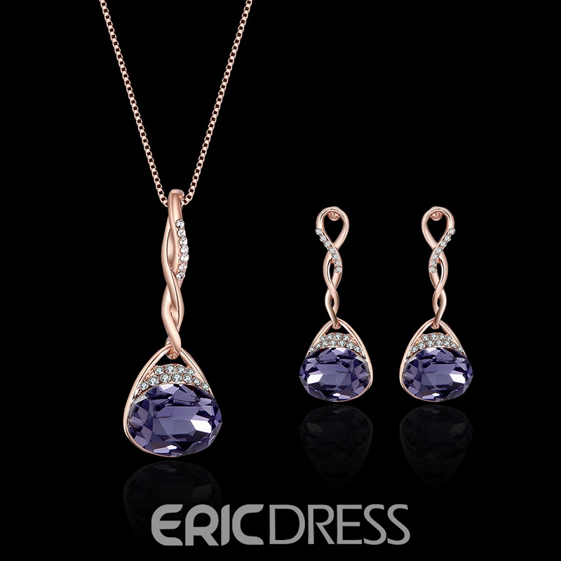 Ericdress Amethyst Crystal Diamante Waterdrop Jewelry Set