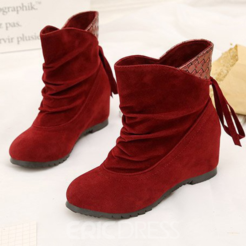 Ericdres Suede Patchwork Lace-Up Back Ankle Boots