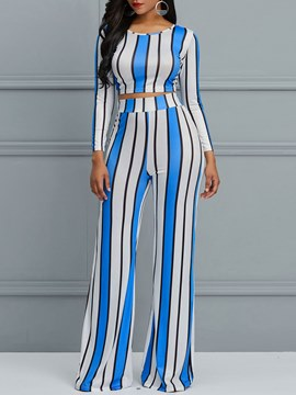 Ericdress Stripe Color Block T-Shirt and Pants Women's Two Piece Set