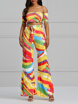 Ericdress Print Color Block T-Shirt and Bellbottoms Women's Two Piece Set