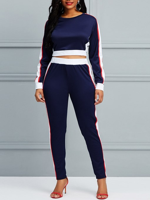 Ericdress Sports T-Shirt and Pants Color Block Women''s Two Piece Set