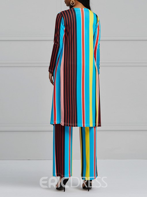 Ericdress Striped Color Block Tube Top and Trench Coat and Pants Women's Three-Piece Suit