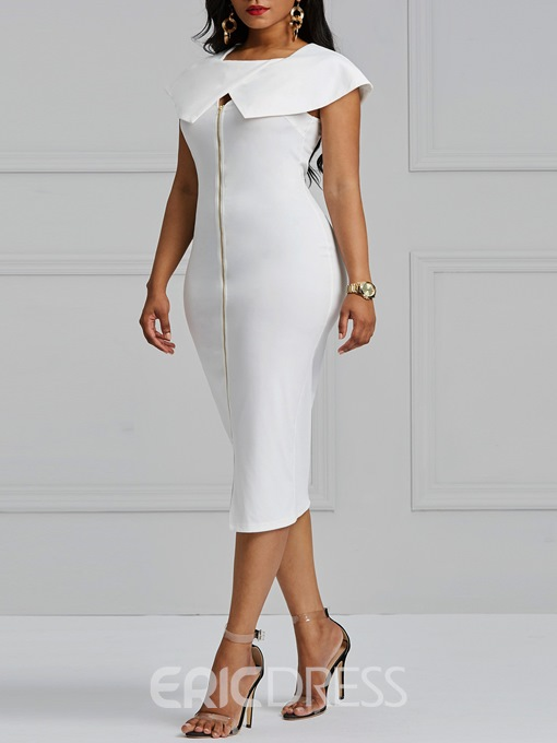 Ericdress Bodycon Zipper Plain Women's Dress