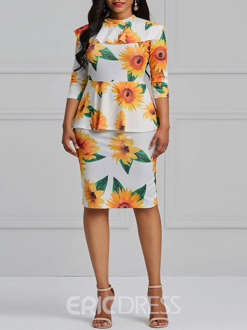 Ericdress Bodycon Floral Print Women's Dress